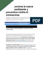 Cómo funciona la nueva cabina sanitizante y preventiva contra el coronavirus