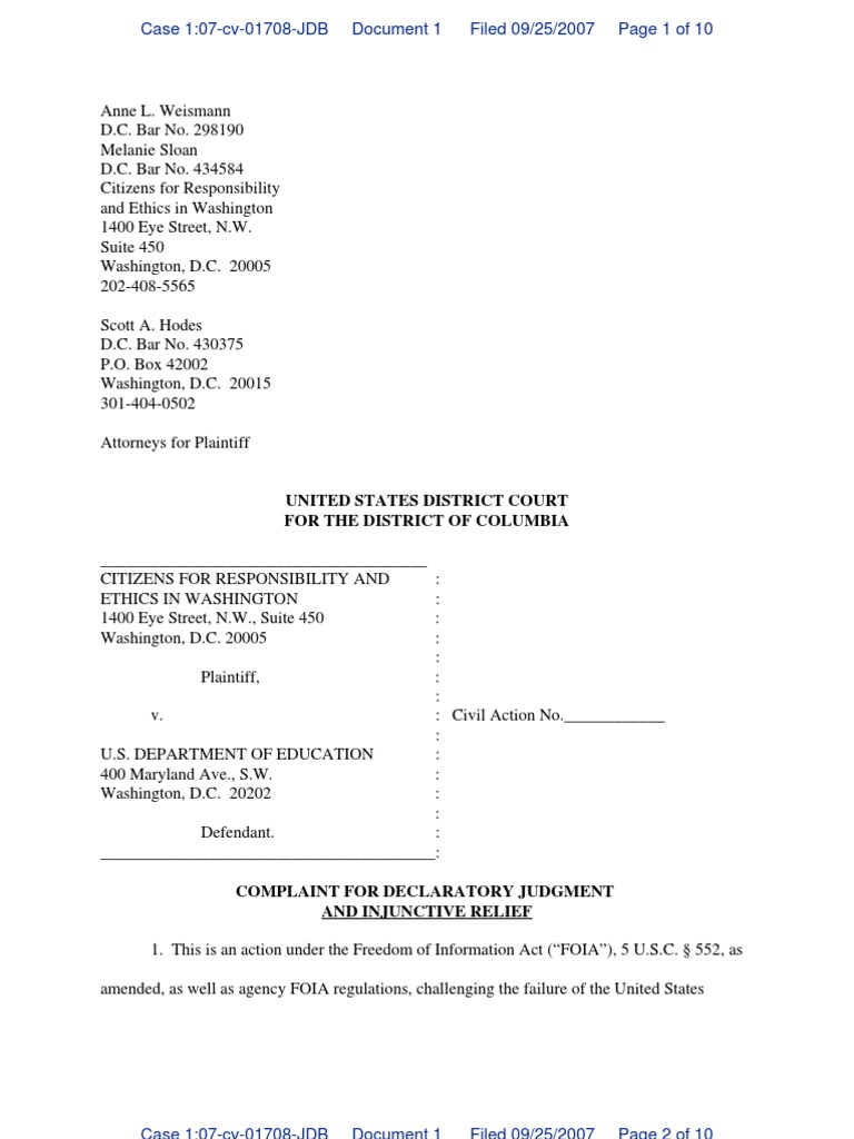 Complaint: CREW v  Department of Education: Re: Ignite