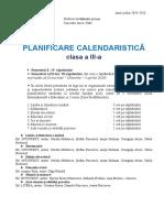 Planificare calendaristica clasa a III-a