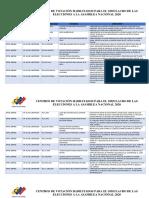 CENTROS DE VOTACIÓN HABILITADOS PARA EL SIMULACRO DE LAS ELECCIONES A LA ASAMBLEA NACIONAL 2020