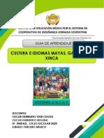 Tercero Basico, Cultura Maya, GUÍA DE APRENDIZAJE  Unidad IV, PROF. OSCAR CUGUA