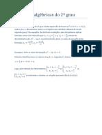 Equações algébricas do 2º grau