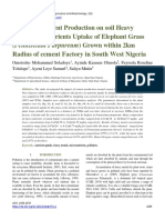 Impact of Cement Production on soil Heavy Metals and Nutrients Uptake of Elephant Grass (Pennisetum Purpureum) Grown within 2km Radius of cement Factory in South West Nigeria