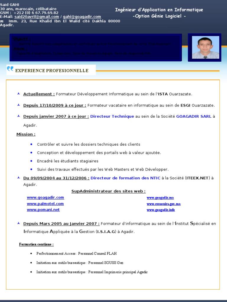 Cv Gahi Said Computer Science Application Software