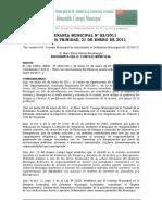 ORDENANZA MUNICIPAL Nº 002-2011