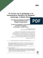 Garcés JF El recurso de la pedagogía a la hermenéutica filosofica de gadamer