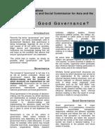 1. Reading Good governance