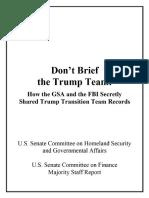 GOP Senate Report On FBI, GSA Abuse Against Trump Transition Team
