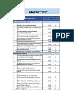 MATRIZ EFE - EVALUACION A LOS FACTORES EXTERNOS