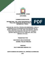 ANTEPROYECTO TICS EMERGENTE  EN LA ENSEÑANZA DE LAS MATEMATICAS