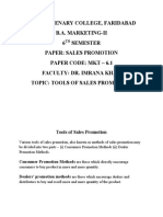 B.A. Marketing 6th Sem Sales Promotion