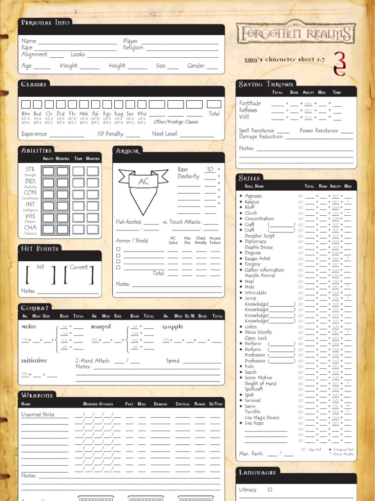 It's just a picture of Luscious 3.5e Character Sheet Printable
