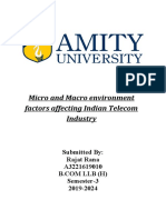Explain the micro and macro environment affecting Indian Telecom Industry
