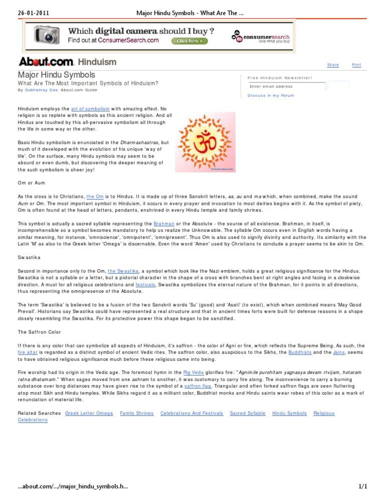Major Hindu Symbols Vedas Theism