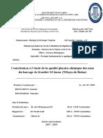 Contribution à l'étude de la qualité physico-chimique des eaux du barrage de Koudiet M'daour (Wilaya de Batna)