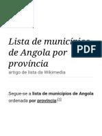 Lista de municípios de Angola por província – Wikipédia, a enciclopédia livre