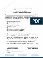 FORMULARIO  DE ISNCRIPCION  PLAZO PARA ENTREGA  DE  DOCUMENTO