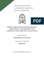 Proyecto arquitectónico centro de oración y formación de la comunidad Renovación Carismática Católica Reina de la Paz, Soyapango (1).pdf