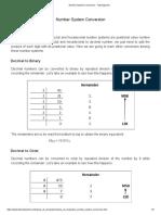 Number System Conversion - Tutorialspoint