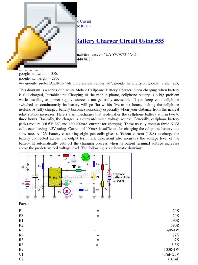 Cell Charger Using 555 Timer Circuit Ne555 Todays Circuits Engineering Projects