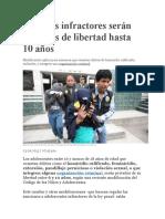 Menores infractores serán privados de libertad hasta 10 años