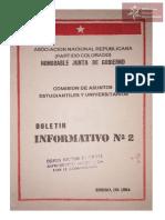 Boletín Comisión de Asuntos Universitarios .Asociación Nacional Republicana