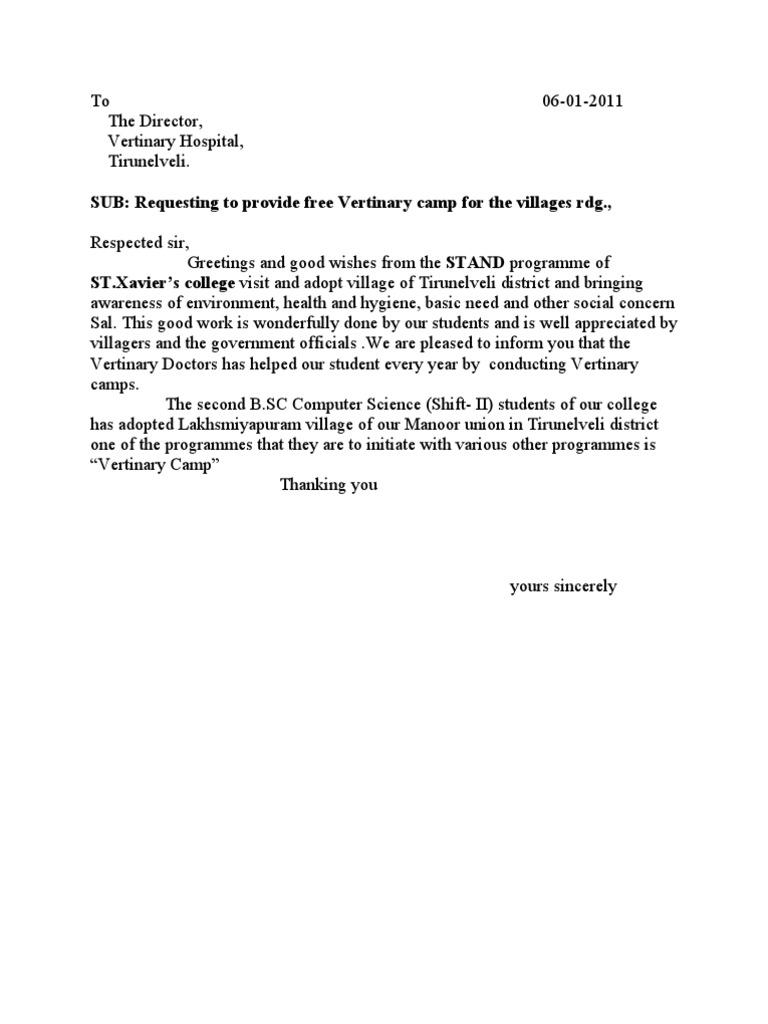 Sample Letter For Organising Medical Camp