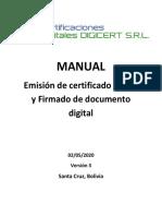 1. Emision de certificado digital PKCS12 y Firmado de documento digital