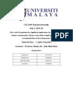 CIX 2005 Entrepreneurship Essay Covid-19