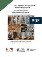 Actas de las X Jornadas Nacionales de Antropologia Filosofica 2019