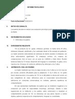 INFORME PSICOLOGICO ESTUDIO DE CASO INTERVENCION PSICOEDUCATIVA