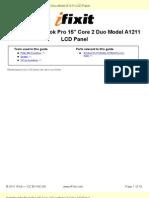 "Installing MacBook Pro 15"" Core 2 Duo Model A1211 LCD Panel"
