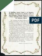 1861 Artesanos de Bogotá - Invitación a Mosquera para misa por triunfo
