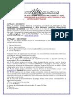 EDITAL DE CHAMADA - SUBJETIVIDADES, CULTURALIDADES E SEUS PREFIXOS