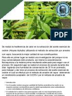 TRANSFERENCIA DE CALOR EN LA EXTRACCIÓN DE ACEITE ESÉNCIAL A BASE DE CEDRÓN Aloysia triphylla.pptx