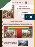 ORÍGENES DE LA LITERATURA ESPAÑOLA