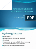 PSY 1405 Psychology as part of Beh Studies III