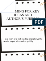 SKIMMING FOR KEY IDEAS AND AUTHOR'S PURPOSE