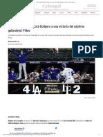 Serie Mundial 2020_ Está Dodgers a una victoria del séptimo gallardete _ Video _ Aristegui Noticias
