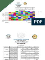 G8 Class and Teacher's Program AM PM Shifts