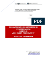 Liceul GRR - Regulament de Organizare 2020-2021