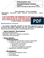 Intoxication aux Anesthésiques Locaux