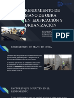 RENDIMIENTO DE MANO DE OBRA ,EDIFICACIÓN Y URBANISMO
