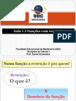 UDC Calculo 1 Aula 1.3 Funções com restrição