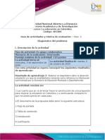 Guía de actividades y rúbrica de evaluación - Unidad 1 - Paso 2 - Desarrollar diagnóstico del problema.