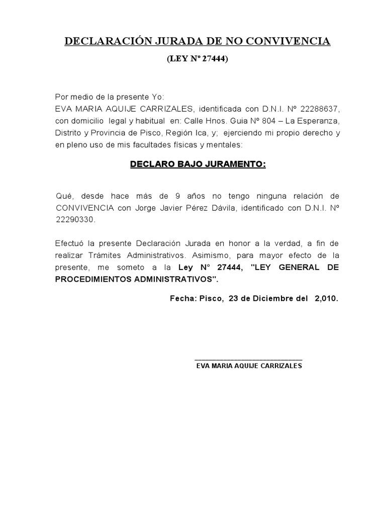 DECLARACIÓN JURADA DE NO CONVIVENCIA