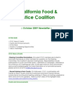 October 2009 California Food and Justice Coalition Newsletter