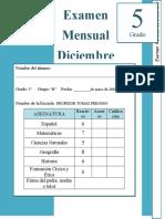 Diciembre - 5to Grado - Examen Mensual (2018-2019)