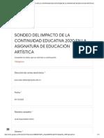 SONDEO DEL IMPACTO DE LA CONTINUIDAD EDUCATIVA 2020 EN LA ASIGNATURA DE EDUCACIÓN ARTÍSTICA