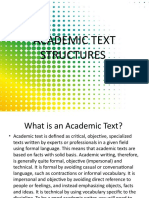 ACADEMIC TEXT STRUCTURES